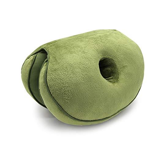 Star Supermarket dubbel comfortkussen, zitkussen voor het optillen van de heupen voor het onderste stuitbeen van de rug en voor ischiasontlasting in de autostoel, thuis en op kantoor mouwgroen.