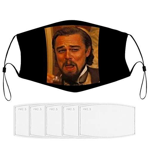 Leo-NAR-do Dic-ap-Rio Djan-go Laughing Meme Face Mask Washable Reusable Adjustable Balaclavas Half Face Mask Funny mask