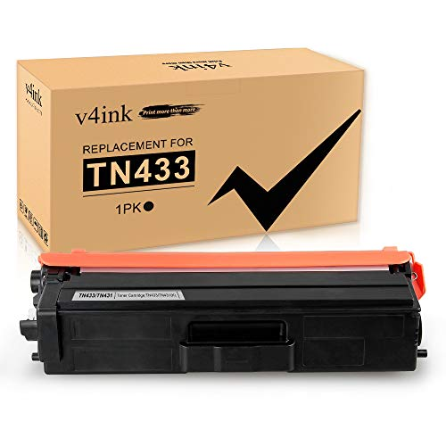 V4INK Compatible Brother TN433 TN431 Black Toner Cartridge High Yield for Brother MFC-L8900CDW Brother MFC-L8610CDW Brother HL-L8260CDW HL-L8360CDW HL-L8360CDWT HL-L9310CDW MFC-L9570CDW Printer