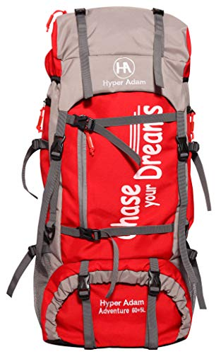 Hyper Adam 65 L Rucksack Hiking Backpack Trekking Bag Camping Bag Travel Backpack Outdoor Sport Rucksack Bag 65 Ltrs (Red)