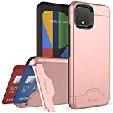 Teelevo Wallet Case for Google Pixel 4, Dual Layer Case with Card Slot Holder and Kickstand for Google Pixel 4 (2019) - Rose Gold