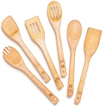 Riveira Wooden Spoons for Cooking 6-Piece Bamboo Utensil Set Apartment Essentials Wood Spatula Spoon Nonstick Kitchen Utensil Set Premium Quality Housewarming Gifts Wooden Utensils for Everyday Use