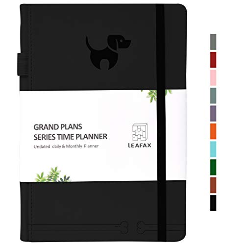 Undated Daily Planner-Agenda Book, Hourly/Day/Weekly/Monthly Planner, Personal Organizer, to-Do List- 240 Pages 5.8�x8.2� A5 - Leather Hardcover, 100gsm Thick Paper,Inner Pocket- LEAFAX(Black)