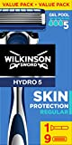 Wilkinson Sword Skin Protection Regular - Maquinilla de Afeitar Hydro 5 + Recambios de Cuchillas de Afeitar de 5 Hojas para Hombres - Pack 1 maquinilla + 9 recambios