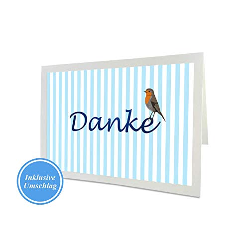 Dankeskarte mit Umschlag, Danksagungskarte, Danke Sagen, Rotkehlchen Vogelmotiv, Hochzeit, Geburt, Taufe, Geburtstag