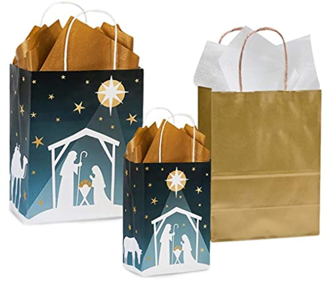 Nativity Gift Bag Set Set with Tissue Paper (6)