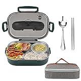 Auslaufsichere Lunchbox Victop Bento Box aus Edelstahl Brotdose mit Isoliertasche,Besteck and Handyhalterung Lunch Boxen 4 Fächern für Kinder & Erwachsene
