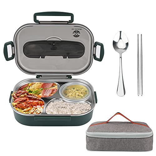 Lunch Box Victop Acciaio inossidabile Porta Pranzo, Bento Box con 4 Scomparti e Posate(Forchetta e Cucchiaio), Per Microonde e Lavastoviglie/No BPA