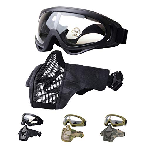 Fansport Airsoft Mask Tactical Goggles Set, Lower Half Face Mesh Masks Foldable Steel mesh mask Airsoft Protective Mask with Goggles Set for Hunting, Shooting, Paintball (Black)