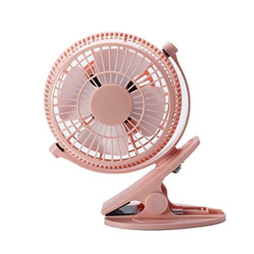 Dewanxin mini USB stufenlos schalten Tischventilator wiederaufladbar Ventilator zum Anklipsen Clip Fan mit 360°drehbare leise für Schlafzimmer Büro Kinderwagen Auto Camping 5 Zoll (Pink)