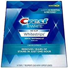 Crest 3D White No Slip Whitestrips Dental Whitening Kit 1 Hour Express - 7 Treatments
