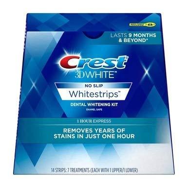 Crest 3D White No Slip Whitestrips Dental Whitening Kit 1 Hour Express - 7 Treatments