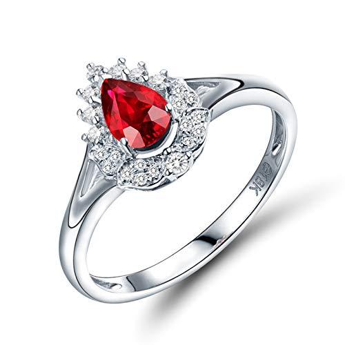 AnazoZ Anillo con Rubi Mujer,Anillo de Mujer Oro Blanco 18K Plata Rojo Gota de Agua Rubí Rojo 0.52ct Diamante 0.12ct Talla 11