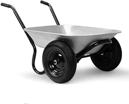 Gardebruk Carretilla de acero galvanizado con 2 ruedas capacidad de 100 L carga máx de 150 kg obras jardín construcción