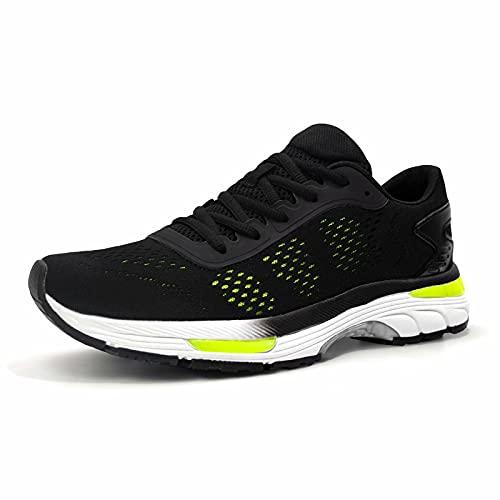 konhill Scarpe da Corsa Sportive Uomo - Sneaker Traspiranti in Morbida Rete Leggere e Comode da Jogging All'aperto Interior Casuale Scarpe EU 41 Tutto Nero