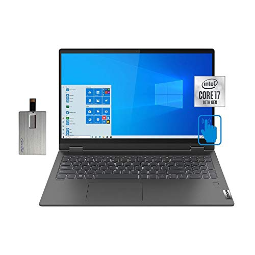 "2020 Lenovo IdeaPad Flex 5 15.6"" FHD Touchscreen Laptop Computer, Intel Core i7-1065G7, 16GB RAM, 512GB PCIe SSD, Backlit KB, Dolby Audio, Intel Iris Plus Graphics, Win10, Gray, 32GB SnowBell USB Card"