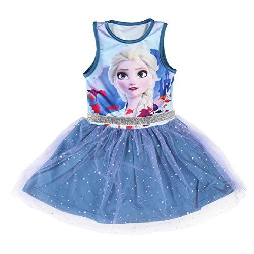 Disney, Frozen 2 Kleid, Mädchen Kleid, Spaß 3D Ballett Tutu Tüll Rock, Kinder Geburtstagsfeier Kostüm Lässig ärmelloses Sommer Prinzessin Kleid mit ELSA, Geschenk für Mädchen, 4 Jahre