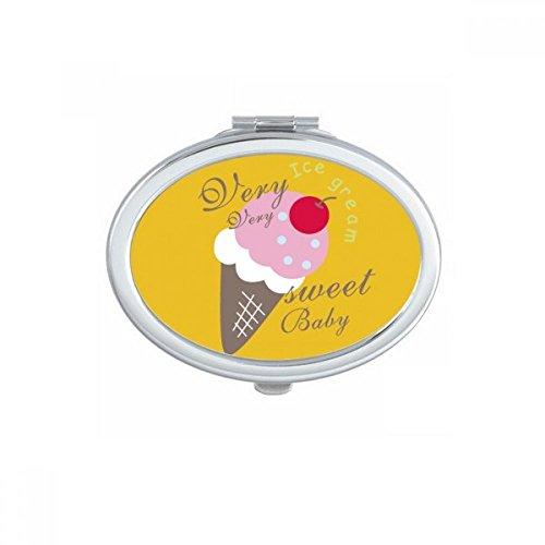 DIYthinker Cerise Sweet Baby crème glacée sucrée Ovale Miroir de Maquillage Compact Portable Mignon Miroirs de Poche à la Main Cadeau Multicolore