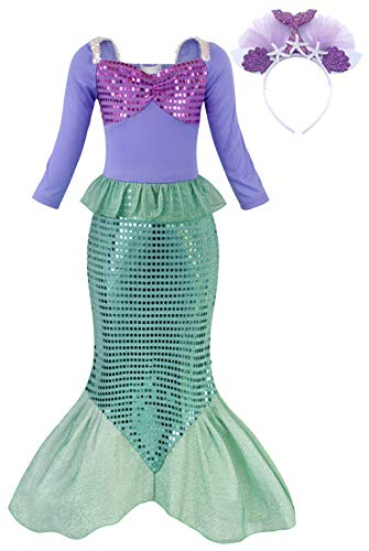 HenzWorld Little Girls Dresses Clothes Mermaid Costume Princess Role Cosplay Birthday Party Halloween Outfits Sequins Starfish Shell Ears Headband Kids Age 6-7 Years Old
