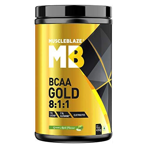MuscleBlaze BCAA Gold 8:1:1 with Higher Leucine, Electrolytes, Glutamine (Green Apple, 450g)