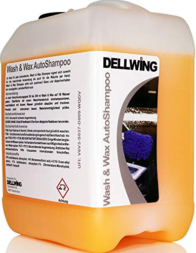 DELLWING Wash & Wax Autoshampoo mit Wachs 2,5 L - Hochprofessionelles Shampoo für Ihren Wagen - Verdünnbar bis 1:200 - Schöner, tiefer Glanz mit Abperlverhalten
