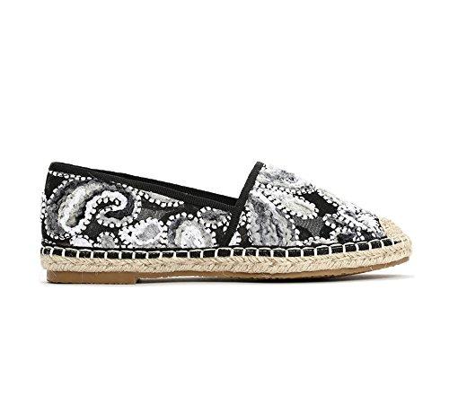 Buyazzo Bunte Designer Espadrilles Espandrillos Sommer Slipper Marokko Leder Schuhe BA3058 (38, Schwarz/Grau)