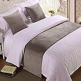 BAMCQ Bettläufer Hotel Hotel bettwäsche hochwertigen einfarbigen Bett schwänze Bett Flagge Bett Schwanz Matte bettdecke Bett Dekoration Streifen 847# hellgrau (samt) 50 cm x 240 cm (1,8 mt Bett)