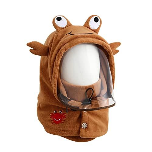 zebroau Sombrero cálido de invierno para niños, gorra a prueba de frío, sombreros cálidos para ciclismo con cubierta facial transparente, gorras de chal para niños y niñas de 3 a 10 años