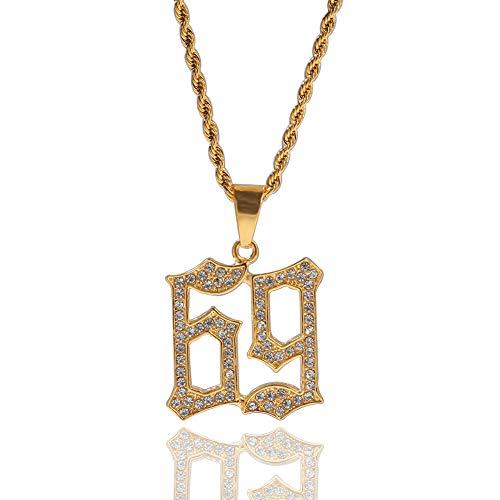 WOOKO - Collar con colgante de acero inoxidable con incrustaciones de diamantes...