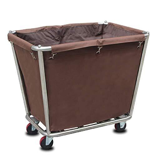 J+N Sortierwagen Startseite Wäsche Sorter Mehrzweckwagen mit Abnehmbarer Tasche, Heavy Duty Servierwagen auf Rad for Hotel Industrie Folding Wagen (Color : Brown)