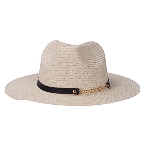 Sharbay Stroh Panamahüte, UV-Schutz Faltbare Papier gewebt Unisex Strand Sonnenhüte mit PU Ledergürtel (Beige)