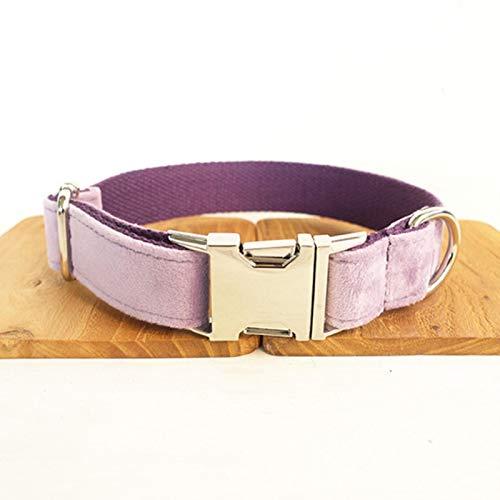 Collar para Mascotas Collares para Perros con Nombre GrabadoCollar para Perros Y Juego De Correas Perros Corbata De Moño De Terciopelo Grueso Collar para Mascotas