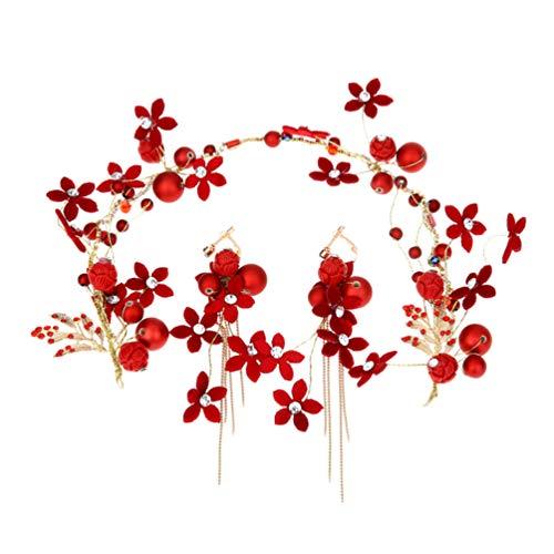 Beaupretty La joyería de la boda establece los pendientes rojos de la...