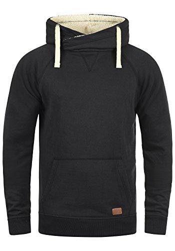 Blend Sales Teddy Herren Kapuzenpullover Hoodie Sweatshirt Mit Teddy-Futter Und Crossover-Kragen Meliert, Größe:M, Farbe:Black Teddy (75123)