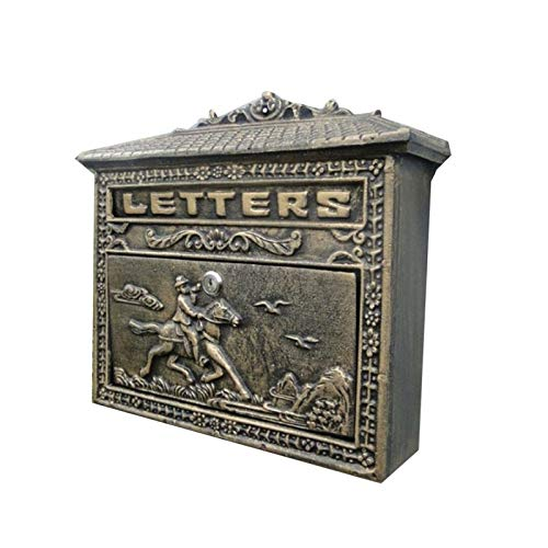 JINDEN Retro dekorative Mailbox, Briefkästen Großraum-Briefkasten aus Aluminiumguss im europäischen Stil zur Dekoration von Gartenvillen aus Bronze zur Wandmontage