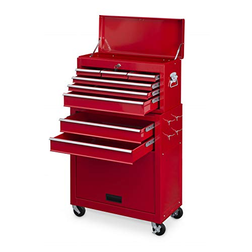 Powerplus Red Locakable 8 Drawer Steel Combination Mechanics Heavy Duty Tool Chest & Cabinet with Top Box on Wheels With Security Lock and 2 Keys Plus Steel Security Bars KRT653002 by PowerPlus