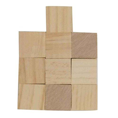 fgyhty Pine stéréoscopiques Cube carrés en Bois Briques de Construction Blocs Edges Bricolage Artisanat Jouets Bois Franc Carving Décoration