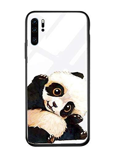 Alsoar Case ersatz für Huawei P20 Lite Hülle,Personalisiert Hülle Kompatibel mit Huawei P20 Lite,Ultra Dünn Silikon TPU und Gehärtetes Glas Zurück Design Tasche Schale Kratzfeste Schutzhülle (Panda-1)