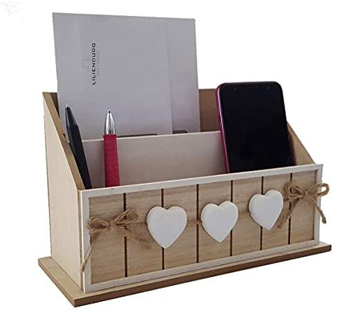 LB H&F Briefablage Papierablage Schreibtisch-Organizer Utensilo Stifteablage Holz Herz 25cm Aufbewahrungsbox Briefe Stifte