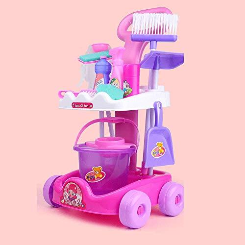 Sxcespp Juegos de Limpieza para niños, Herramientas de Limpieza para Muebles, Juegos de 11 Piezas, Juegos de simulación para Jugar con Juguetes, carritos limpios, Juguetes de rol para niños y niñas,