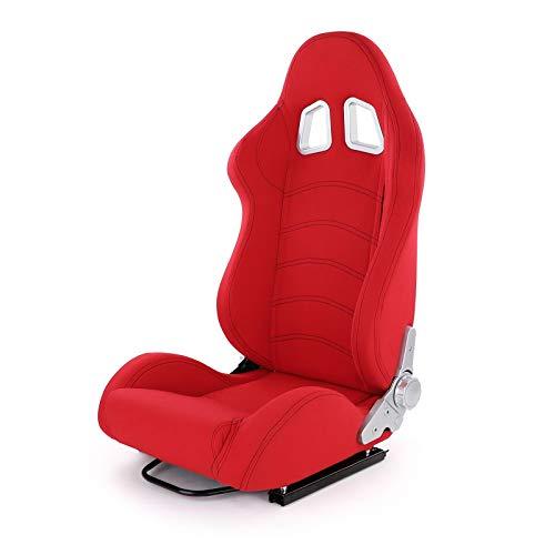 Carparts-Online 28009 Sportsitz Schalensitz Tenzo-R Stoff rot mit Laufschienen