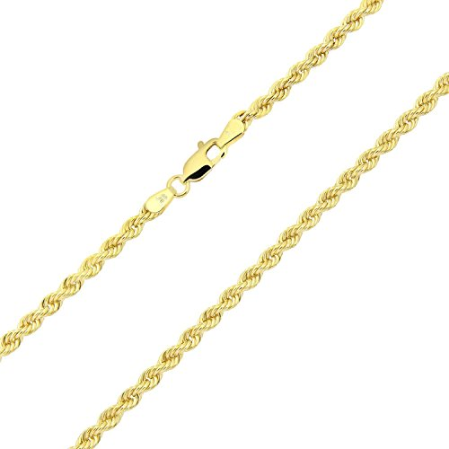 14 Karat / 585 Gold Kordelkette Gelbgold Unisex Kette - 3 mm. Breit - Länge wählbar (55)