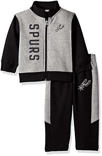 NBA by Outerstuff NBA Infant San Antonio Spurs On The Line Jacket & Pants Fleece Set, Black, 24 Months