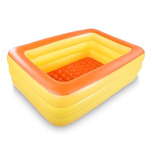 Marca Amazon – Umi piscina inflable familiar para nadar, centro de juego, piscina de 208 cm, piscina de verano, diversión con suelo inflable suave para la familia, patio trasero (naranja)