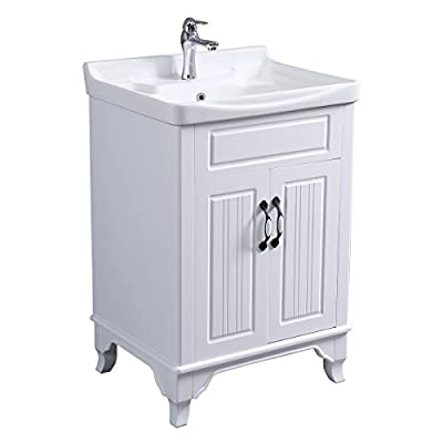 Renovator's Supply Large Cabinet Vanity Sink White Free Standing With Ample Cabinet Space Sink Basin Overflow With Large Raised Back Splash Set Includes Elegant Chrome Faucet And Drain