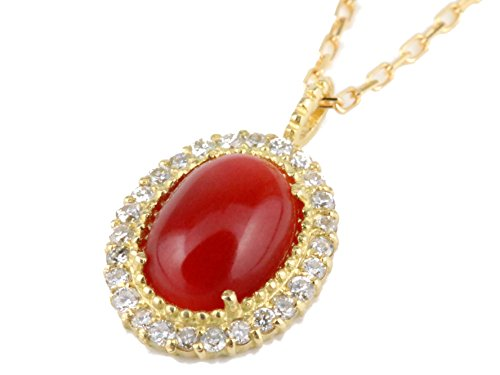 日本産 赤 珊瑚 サンゴ プチ ネックレス ダイヤモンド 18k イエロー ゴールド 御守り 精神安定 幸運 プレゼント