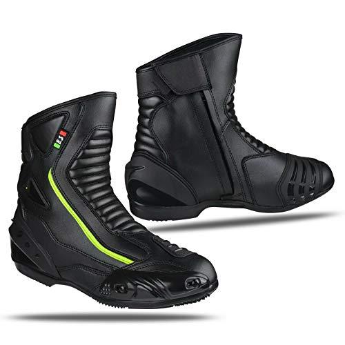 BS MOTO - Stivaletti moto in pelle, impermeabili, Scarpe Traspiranti Moto Strada (Nero/Fluo, 40)