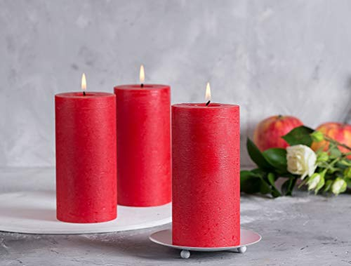 """Melt Candle Company Set of 3 Red Pillar Candles 3"""" x 6"""" Unscented for Weddings Home Decoration Church Restaurant Spa Dripless Smokeless Cotton Wick"""