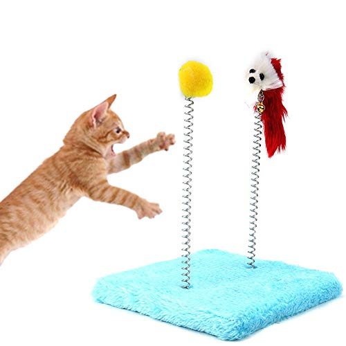 Pet Funny Jumping Platform, Cat Kitty Scratcher Play Toy Climbing Tree Frame Home Activity Center (blauw)