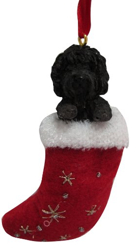 Labradoodle Christmas Stocking Ornament with 'Santa's Little Pals' Hand Painted and Stitched Detail